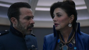 """Admiral Delgado (Michael Irby) and Chrisjen Avasarala (Shohreh Aghdashloo) learn just how bad Marco's attacks on Earth have gotten in """"Gaugamela"""""""
