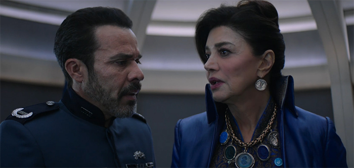 Admiral Delgado (Michael Irby) and Chrisjen Avasarala (Shohreh Aghdashloo) learn just how bad Marco's attacks on Earth have gotten in