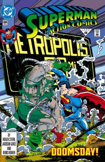 Action Comics #684 cover Superman v Doomsday in front of a Metropolis Highway sign