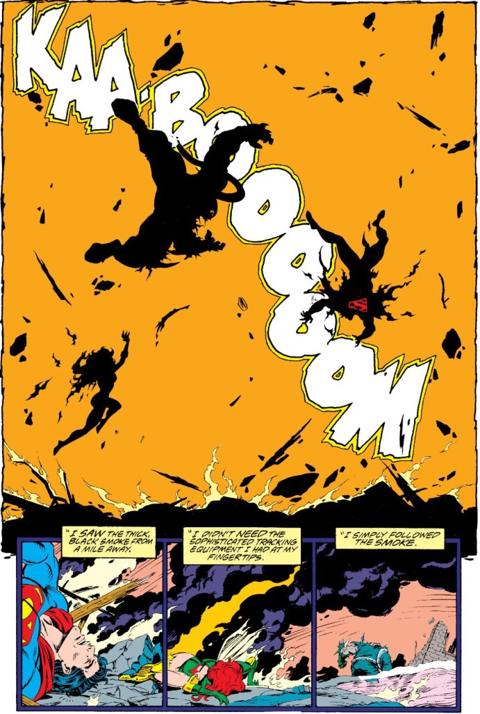 Adventures of Superman #497 page by Tom Grummett showing an explosion throwing Maxima, Superman and Doomsday and leaving the former two unconscious