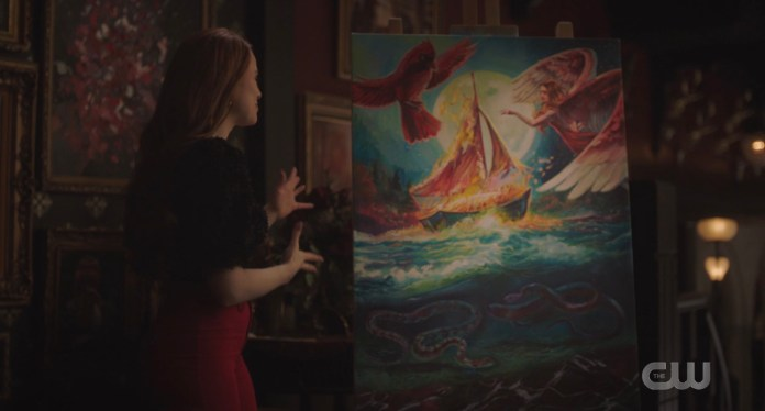 Cheryl Blossom shows off her new painting