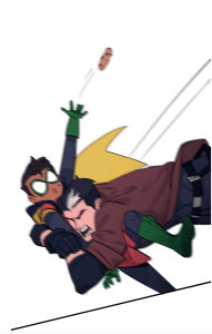 Damian no longer triumphantly holding a cookie as Jason Todd tackles him in Batman: Wayne Family Adventures Episode Two