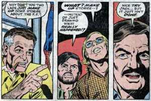 Jack Kirby and Stan Lee (with George Perez and Roy Thomas) in a fictionalized version of their working relationship from Fantastic Four #176