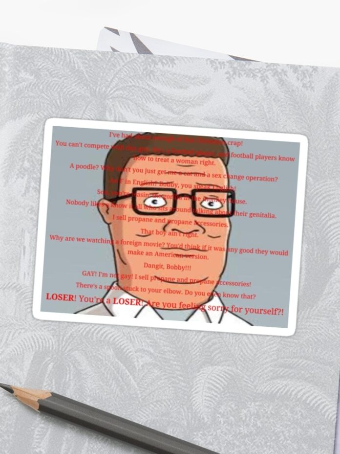 hank hill quotes sticker