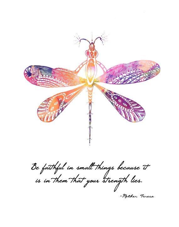 mother teresa quote dragonfly 8x10 metallic lesliesabella