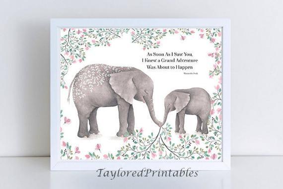 inspirational animal ba elephants quotes winnie the pooh custom printable wall art home decor nursery 8x10 and 11x14 instant download
