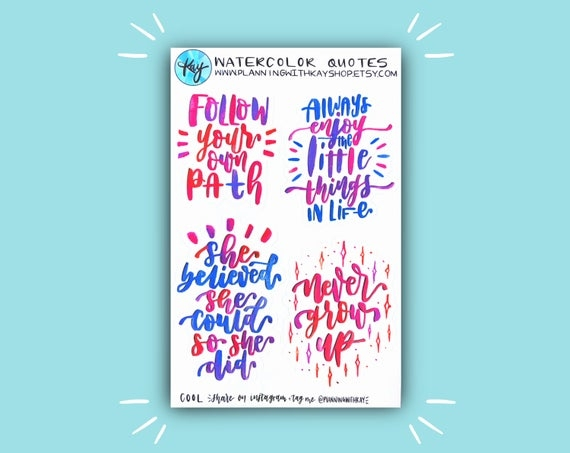 watercolor quotes planner stickers bullet journal stickers stickers for planners journals and more journaling supplies