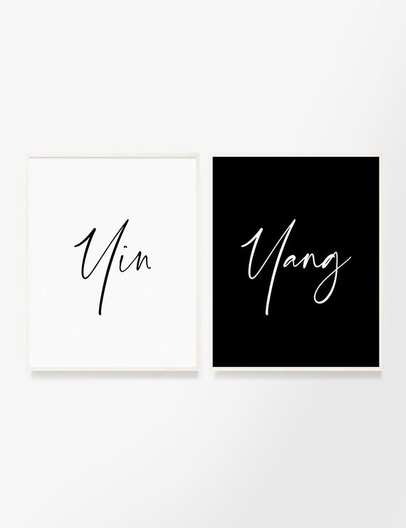 yin and yang set of 2 printable wall art quotes perfect balance inner balance soulmate love connection spirituality black and white