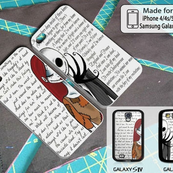 sally and jack skellington quotes couple halloween art case for iphone 44s55s5c and samsung galaxy s3s4