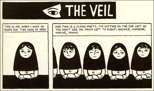 the graphic novel satrapisms a look at persepolis persepolis the veil panels 1 and 2