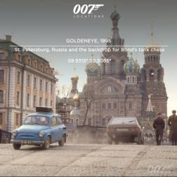 """Saint Pétersburg en Russie sert de fond à la poursuite en Tank de 007. """"Ça a été très délicat de négocier pour faire importer un tank enRussie"""", raconte le directeur de la production Phil Kohler. """"Celui que l'on voit dans le film a été apporté en Russie depuis le Pays de Galle. Il était en parfait état de amrche, et a du être sorti de service avant qu'on puisse même penser à l'exporter. Ironiquement, nous avons découvert des inscriptions tchecoslovaques dessus, ce qui signifie que ce tank a été produit en Russie, avant de partir en Tchécoslovaquie, puis d'arriver au Pays de Galles et être finalement réexpédié en Russie."""