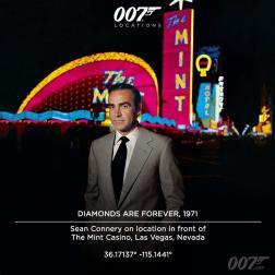 Sean Connery devant le Mint Casino de Las Vegas. Le tournage à Las Vegas commença le 5 avril 1971, le milliardaire américain Howard Hughes s'engageant pour rendre possible la couse poursuite en voiture dans la ville. Le désert du Nevada apparaît également dans les scènes du films censées se dérouler en Afrique du Sud.