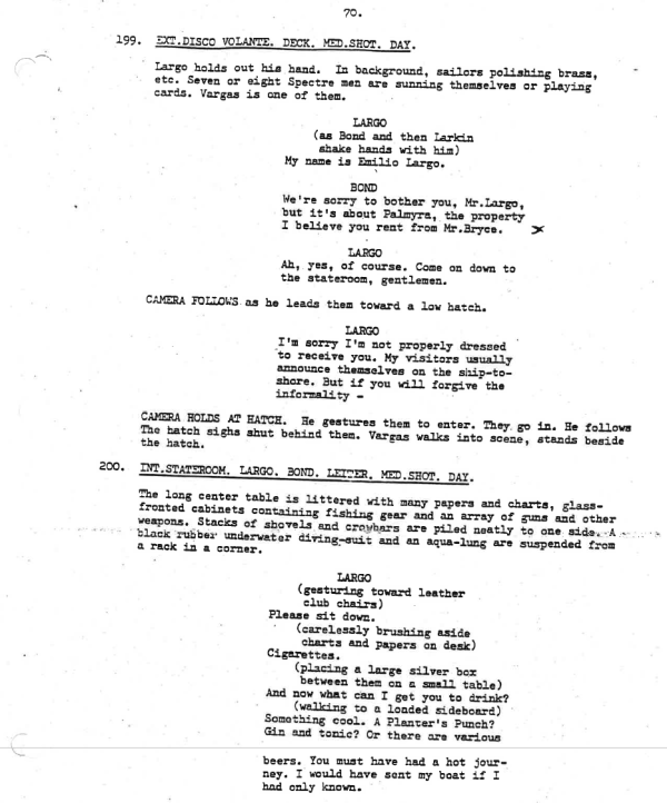 Thunderball script 1961 page 70-71