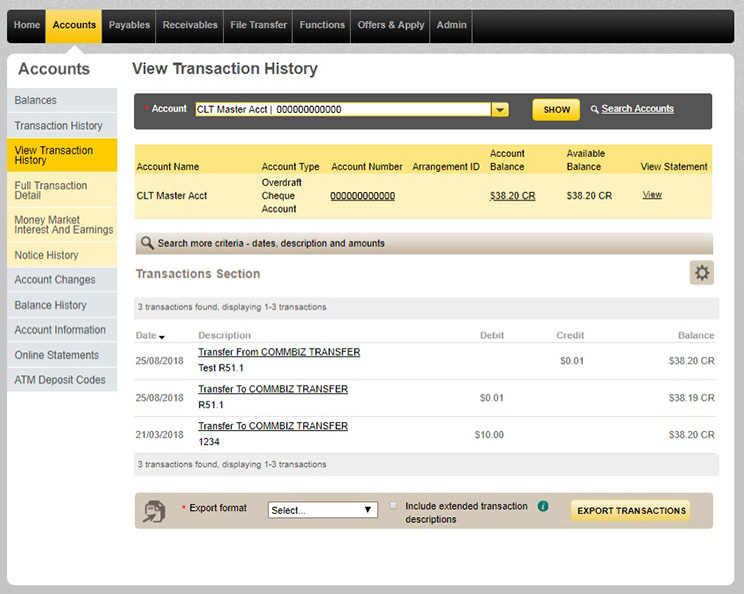 How To View Your Commbiz Transaction History Commbank