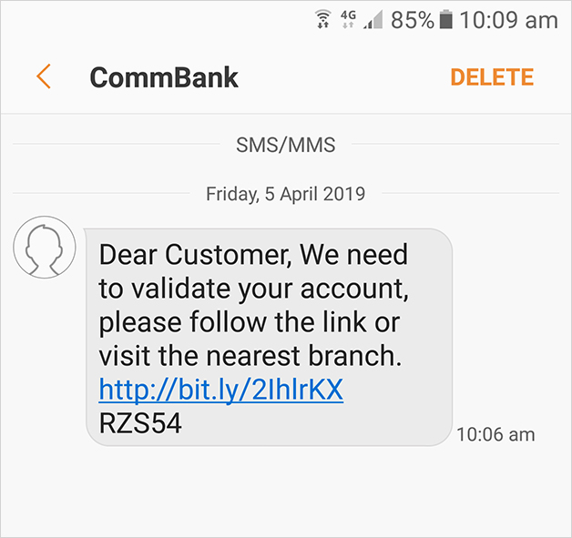 CommBank SMS and Phishing scams