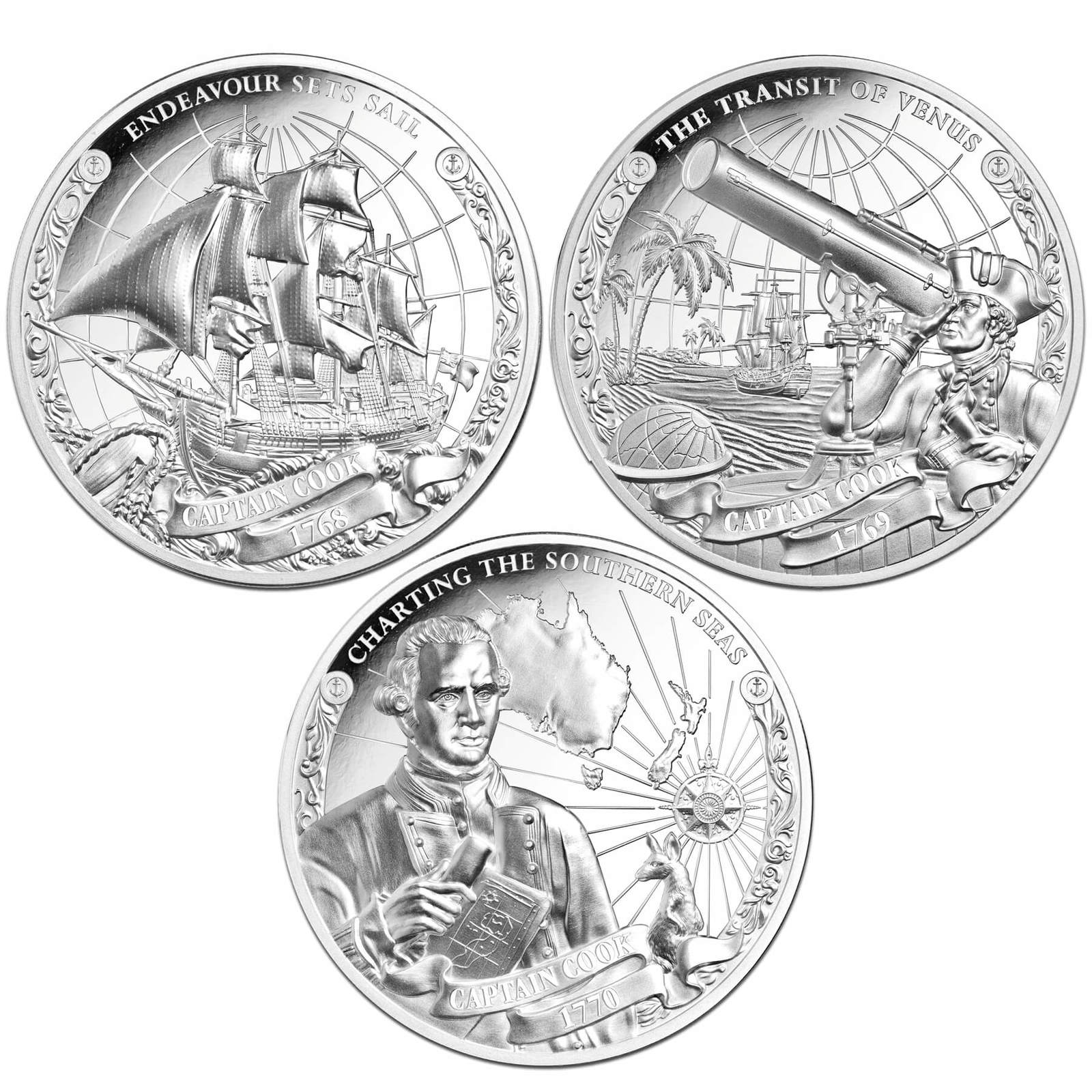 2018 $5 Captain Cook Ultra High Relief 1oz Silver Proof