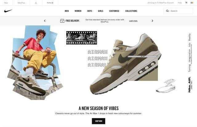 Nike homepage screenshot (without any sliders)