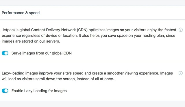 Jetpack's CDN and Lazy Loading options will make a dramatic difference to your site's speed