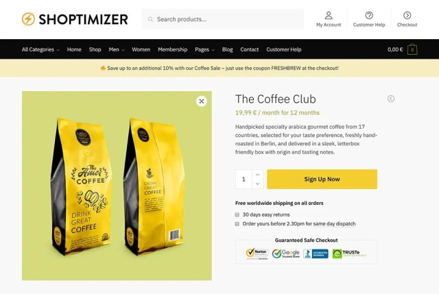 Using the WooCommerce Subscriptions plugin to create a coffee club on Shoptimizer