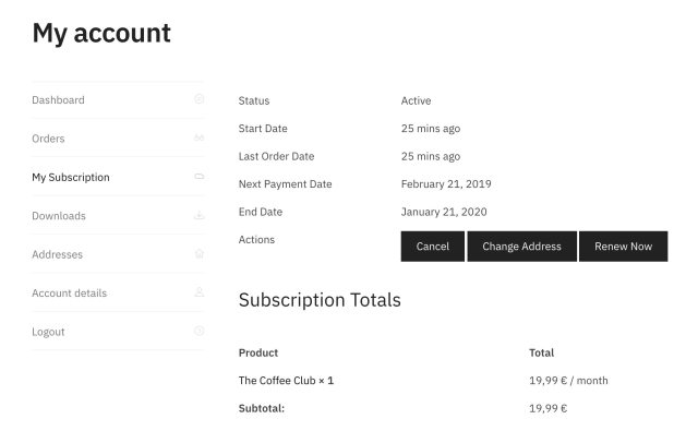 A new WooCommerce Subscription tab within the My Account section