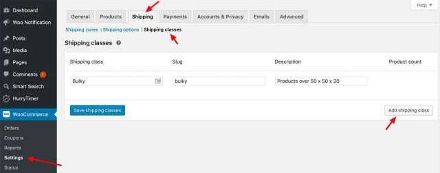 Adding a WooCommerce Shipping Class
