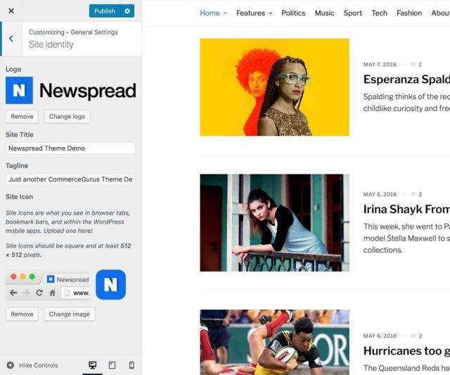 Newspread customizer