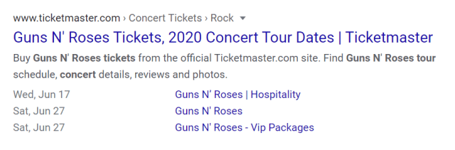 Guns and Roses events in SERPs