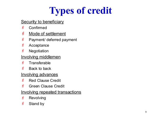 Define Credit Instruments & its kinds
