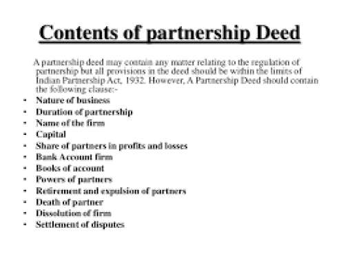 Partnership deed and discuss its contents partnership deed thecheapjerseys Image collections