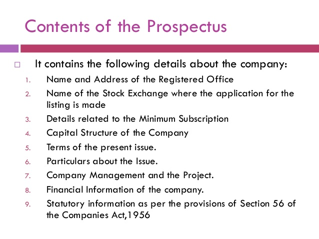 Contents of Prospectus of a Company