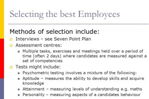 Selection and Training of Em­ployees