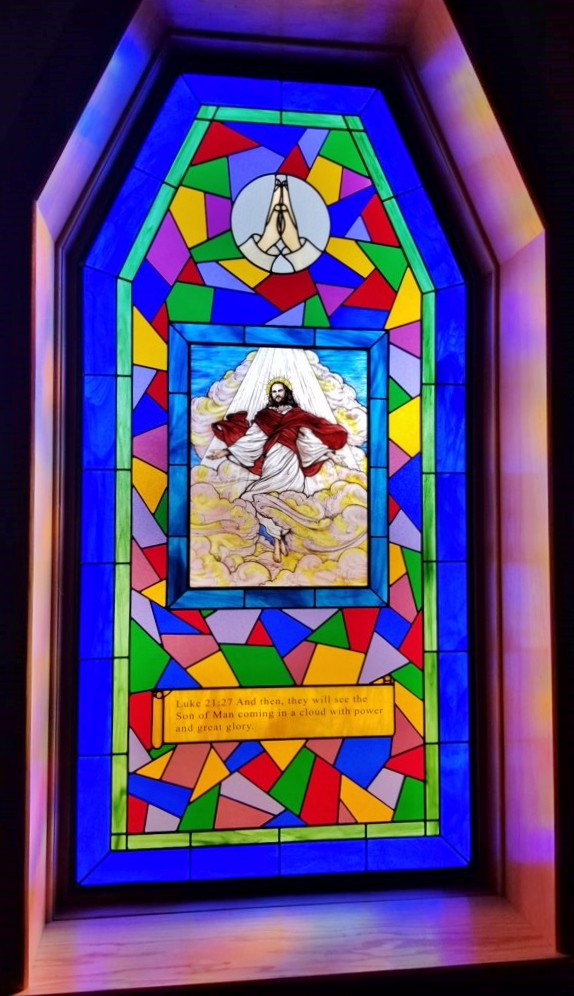 Religious Stained Glass jesus rise