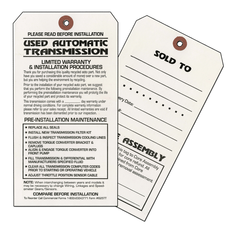 AUTO TRANSMISSION PRE-INSTALLATION MAINTENANCE TAGS