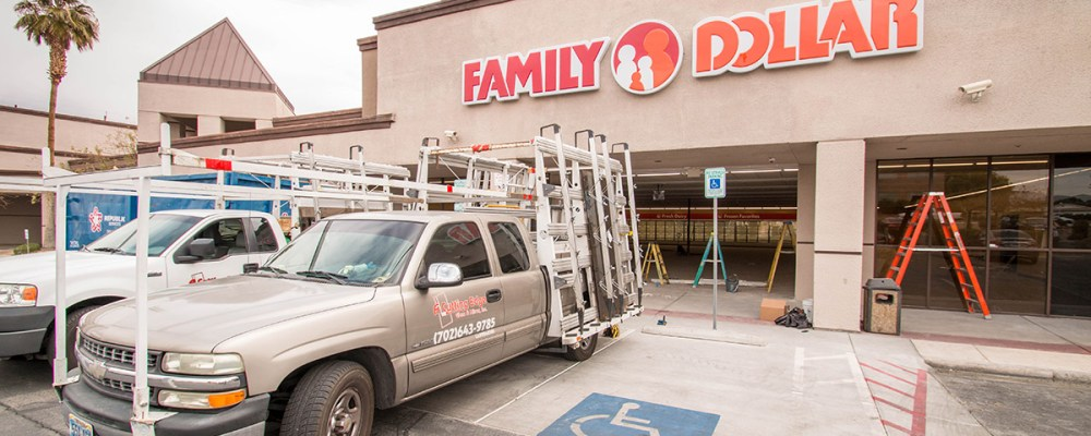 Family Dollar - Storefront Installation By A Cutting Edge Glass & Mirror of Las Vegas