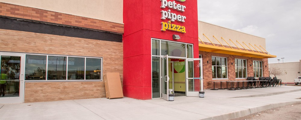 Front Eastside Building - ommercial Glass Storefront - Mccarran Marketplace Peter Piper Pizza