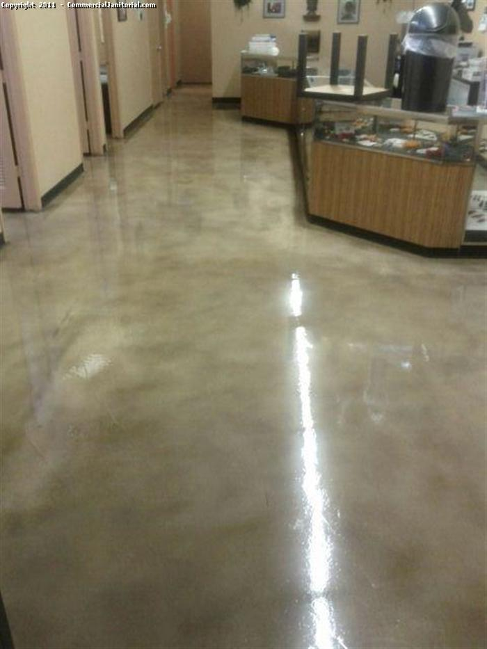 After Picture of Stained Concrete Floor Waxed image