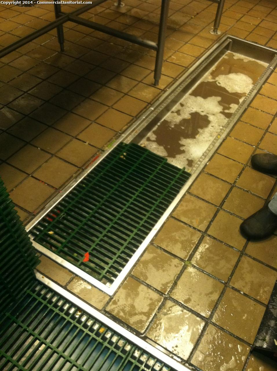Clogged drains when cleaning restaurant floors image