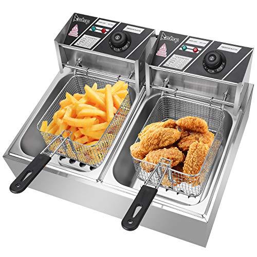 1800W Electric Countertop Deep Fryer Dual Tank Commercial Restaurant 16 Liter