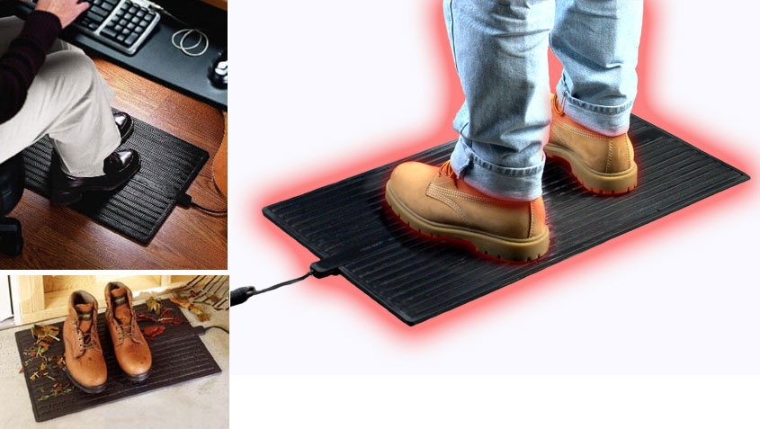 Foot Warmer Mat  Heated Rubber Floor  Office Mats