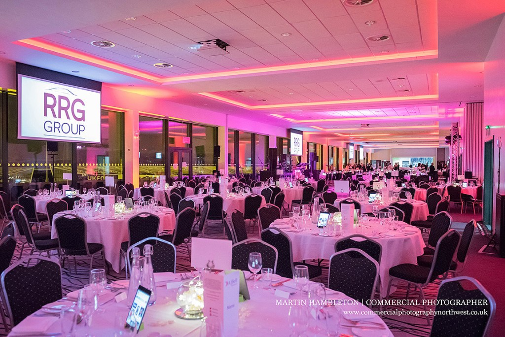 Interior of the City Suite at the A J Bell Stadium for a charity dinner