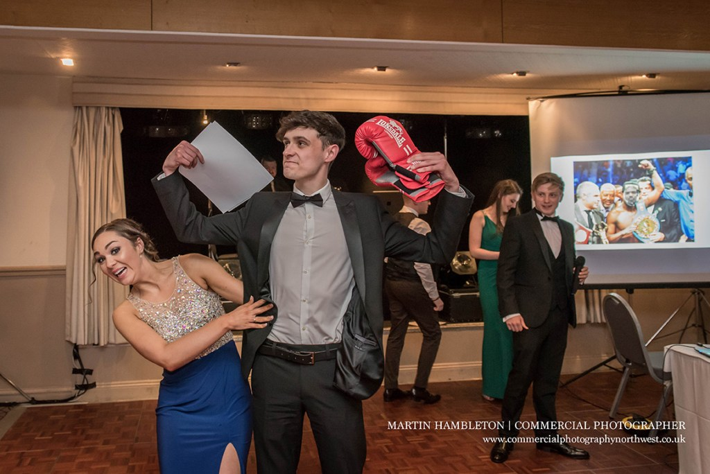 students getting awards at prom