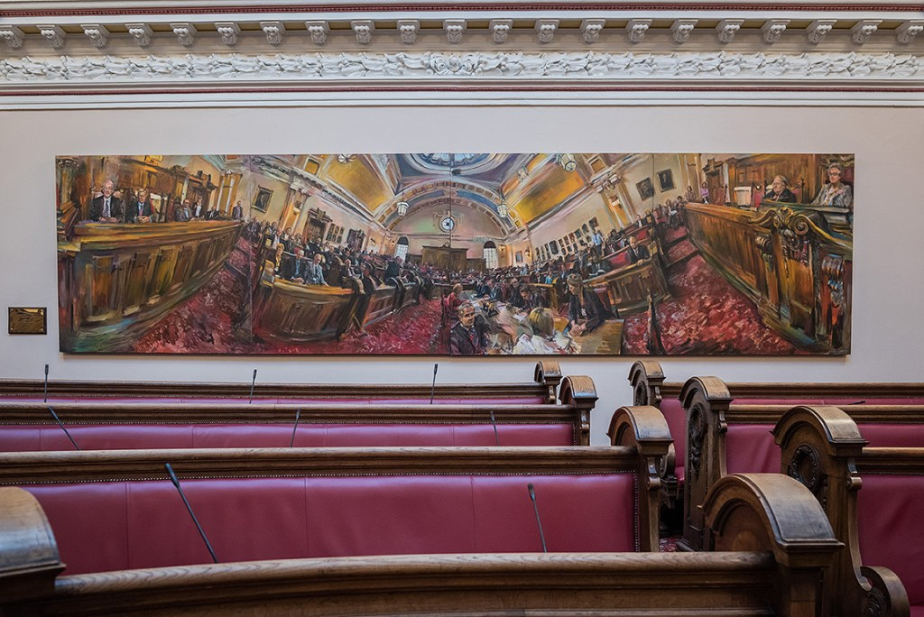 Detail of painting inside council chamber in Stoke on Trent town hall