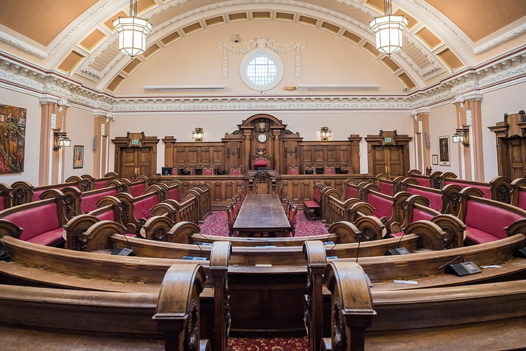 Stoke on Trent town hall council chamber