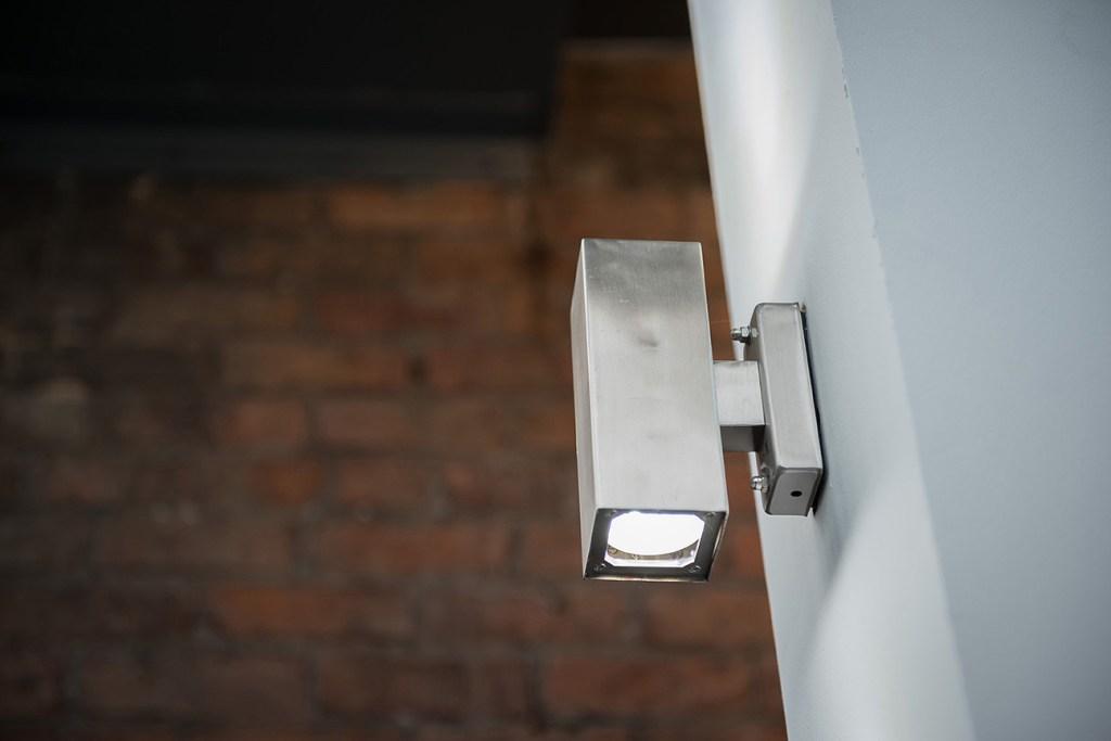 detail shot of chrome downlighter