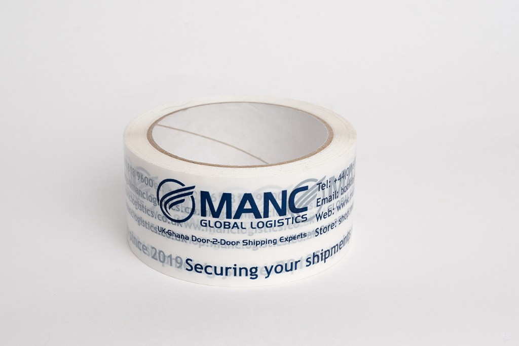 product photography of branded packing tape single roll