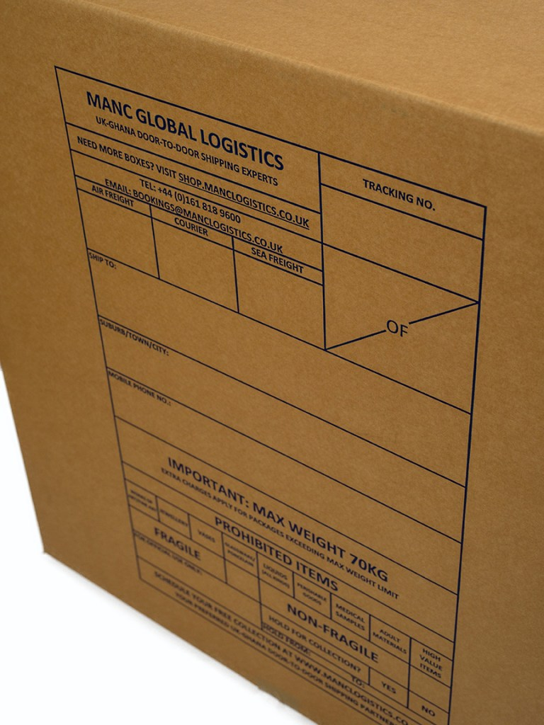 close up product photography of label on side of cardboard packing case