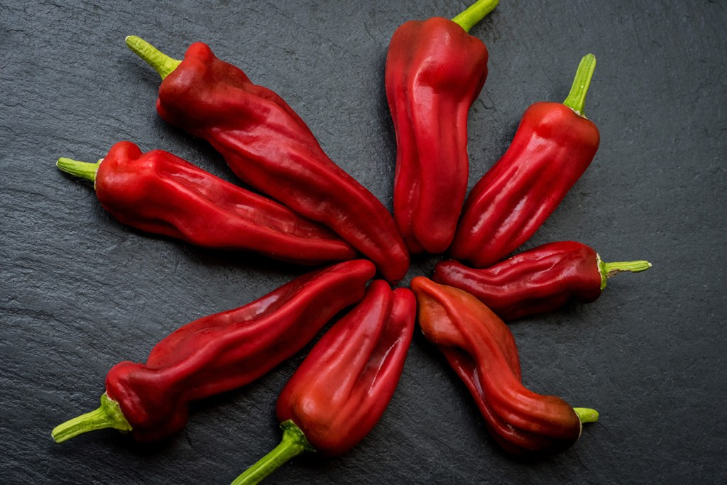 stock photo of red peppers arranged on a piece of textured grey slate