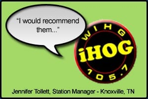 "WIHG Testimonial stating ""I would highly recommend them"" - Jennifer Tollett, Station Manager Knoxville, TN"