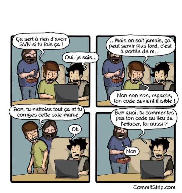 Un développeur se fait reprendre pour avoir commité du code commenté alors qu'il utilise SVN.