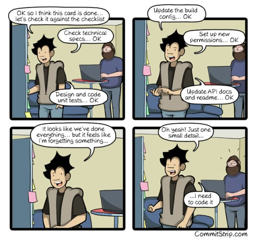 Cartoon of a developer reviewing all the things he's done: check technical specs, unit tests, configuration, permissions, API updates and then says